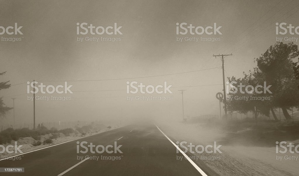 Dust storm - Limited visibility (monochrome) stock photo