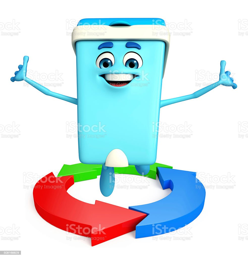 Dustbin Character with arrow stock photo