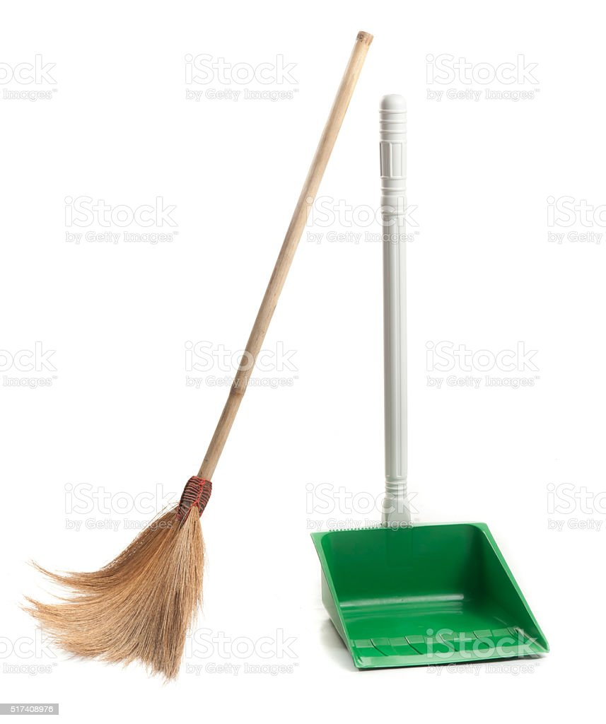 dustpan and broom for cleaning on white background stock photo