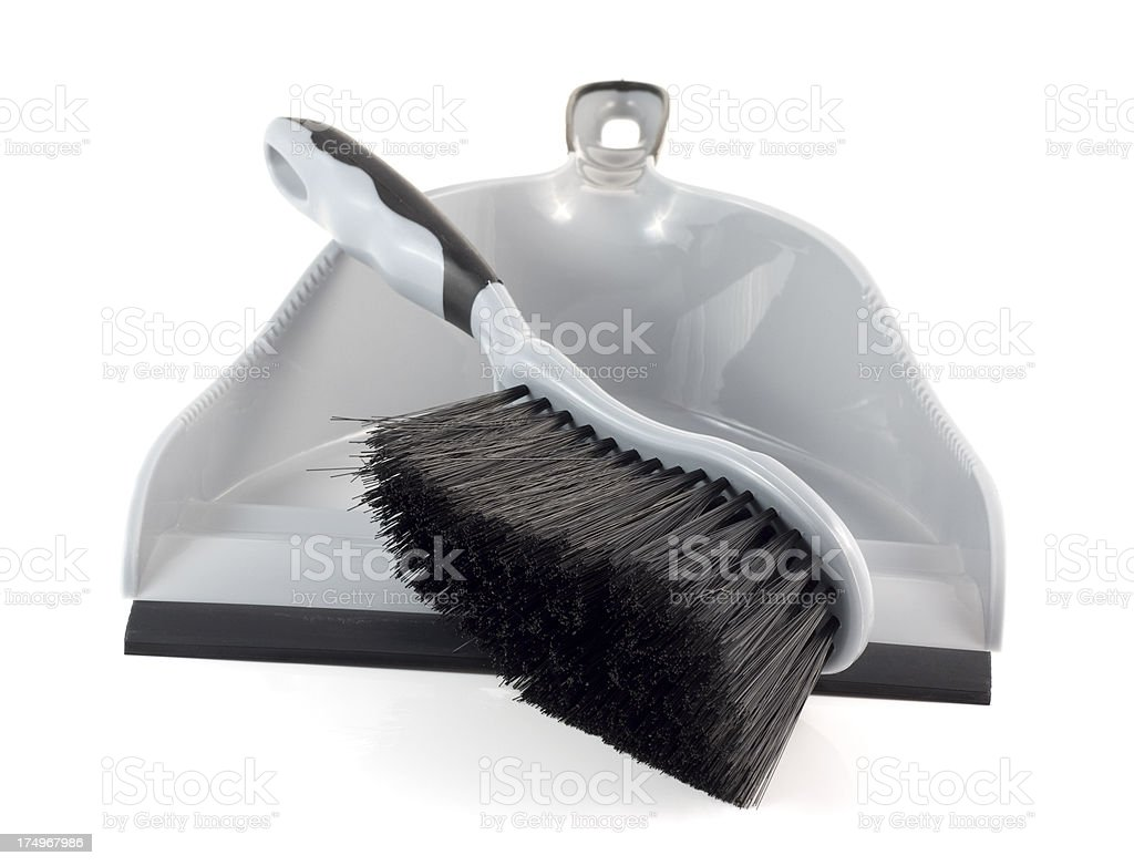 Dustpan and brush isolated on a white background stock photo
