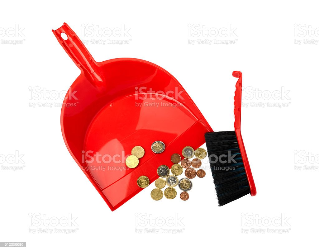 Dustpan, brush and eurocent stock photo