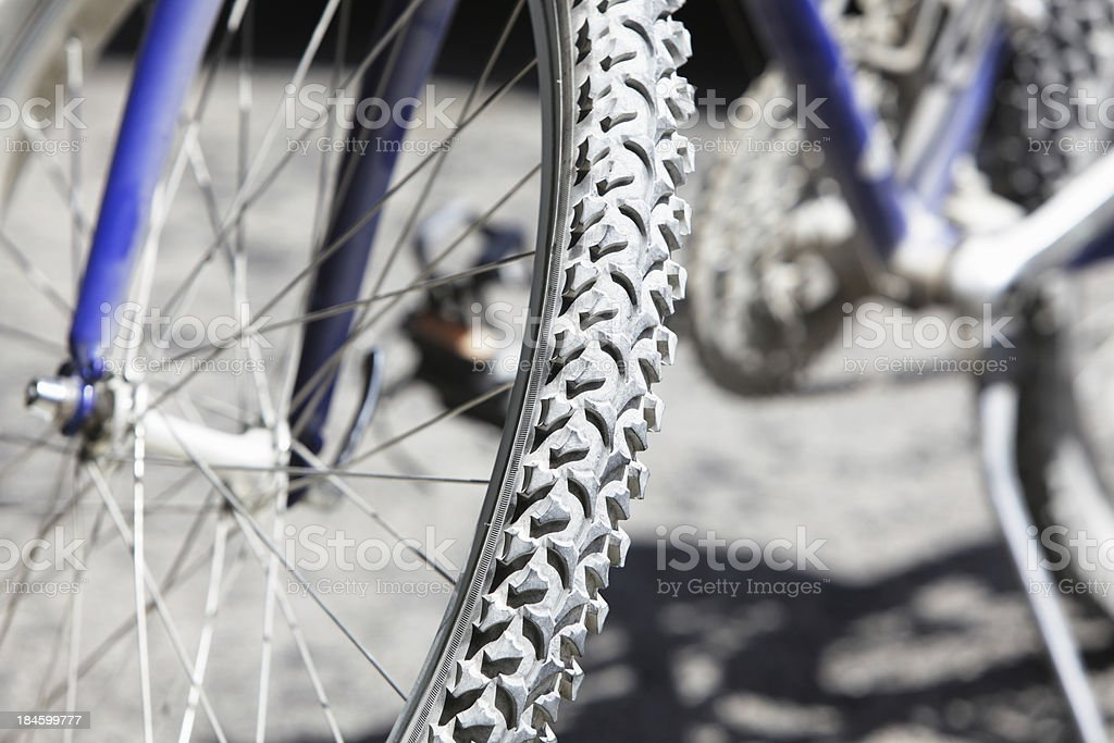 Dusty Bicycle Tire on Mountain Bike royalty-free stock photo