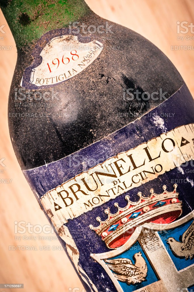 Dusty Bottle of Brunello di Montalcino, 1968 Red Wine stock photo
