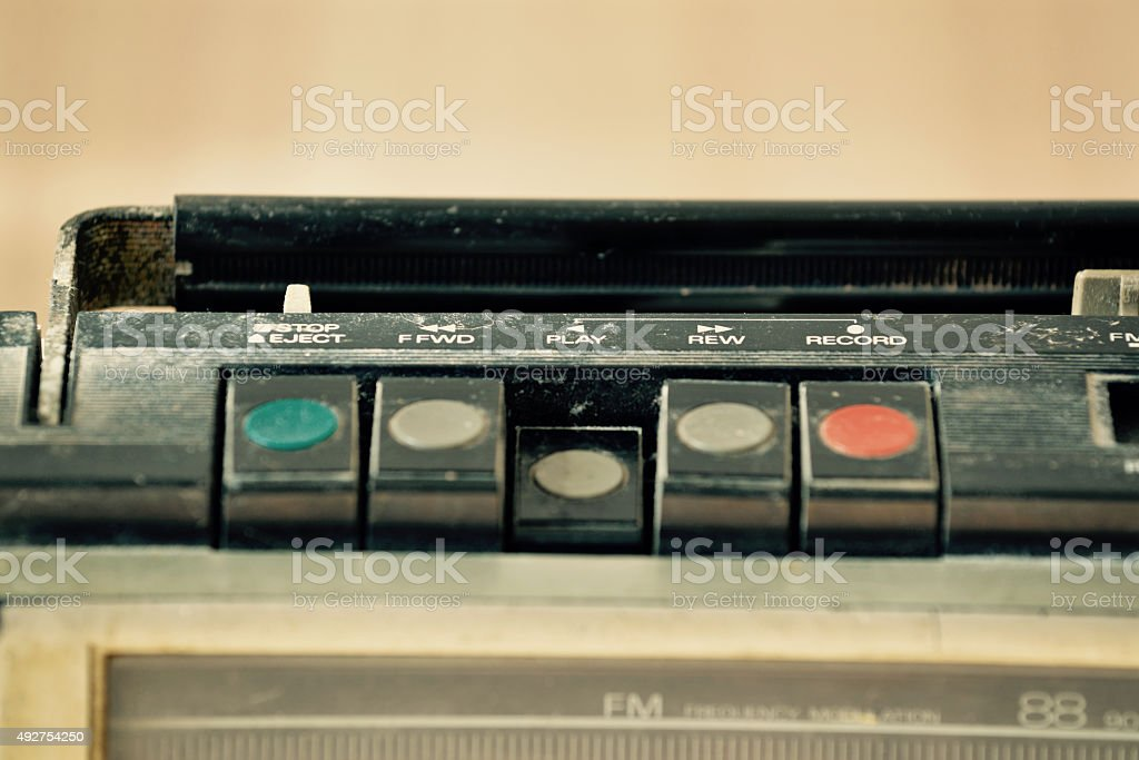 Dusty old radio with one cassette player, Thailand stock photo