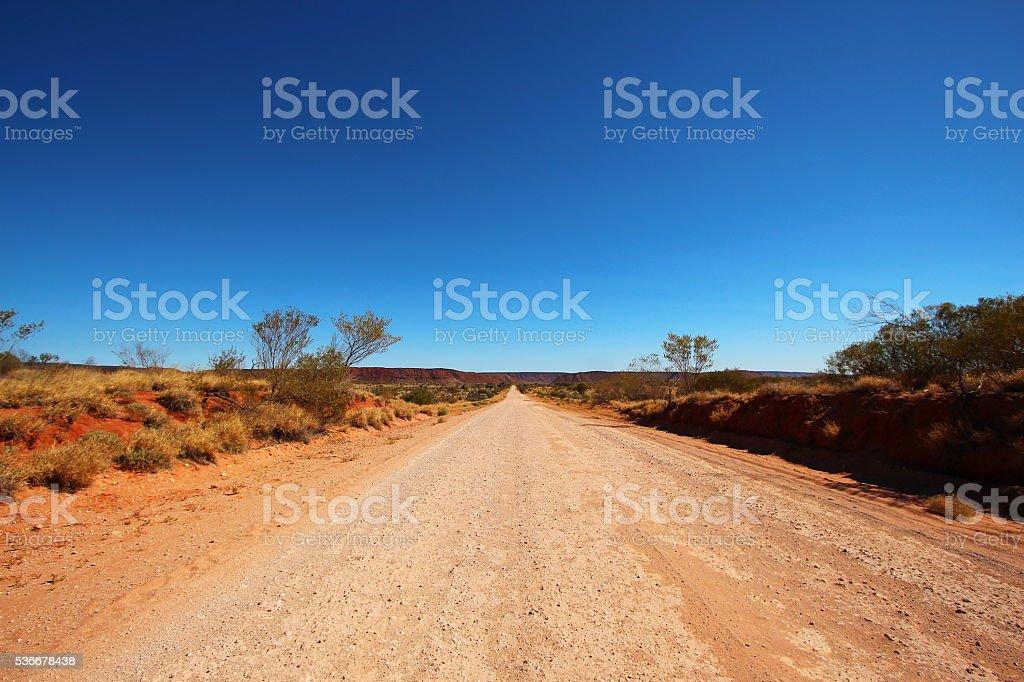 Dusty outback road, Australia stock photo