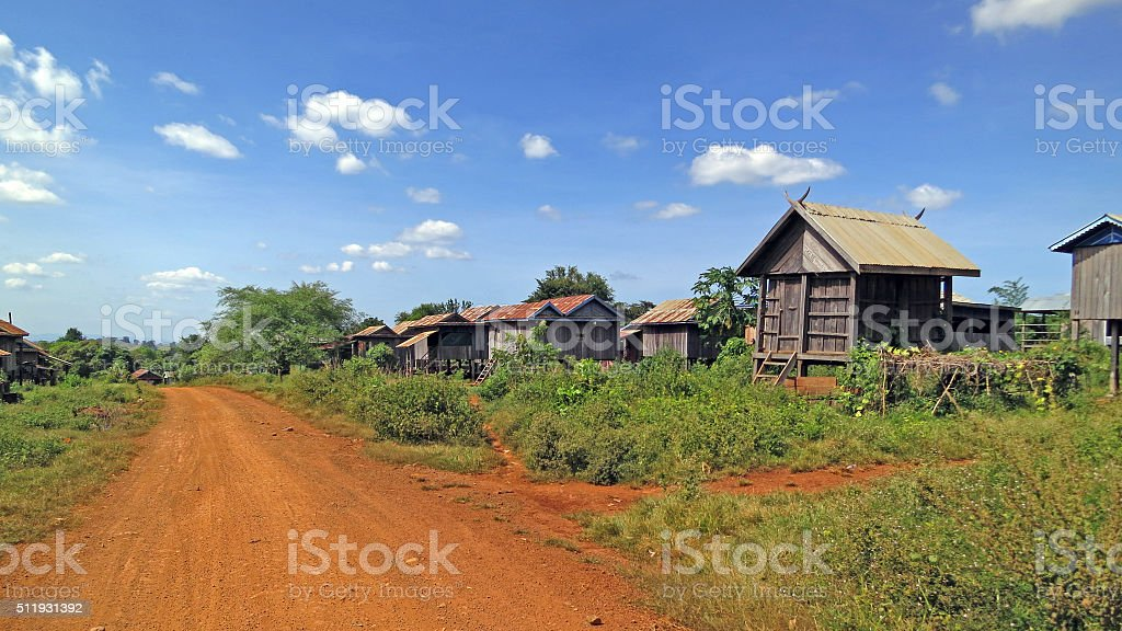 Dusty road in Cambodia stock photo