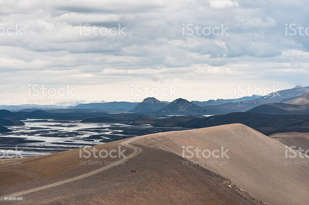 dusty road in Iceland's highlands stock photo