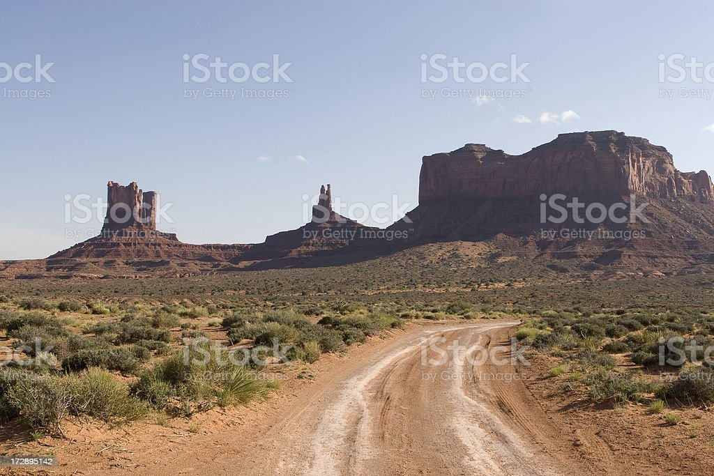 Dusty Road in the Desert stock photo