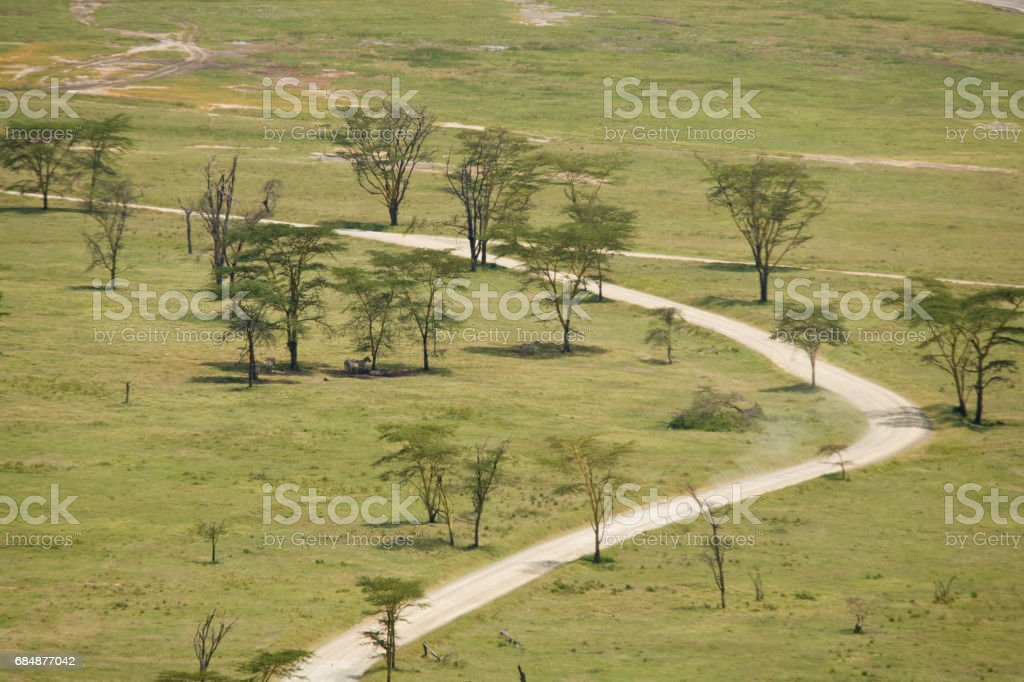 Dusty road near Lake Nakuru stock photo