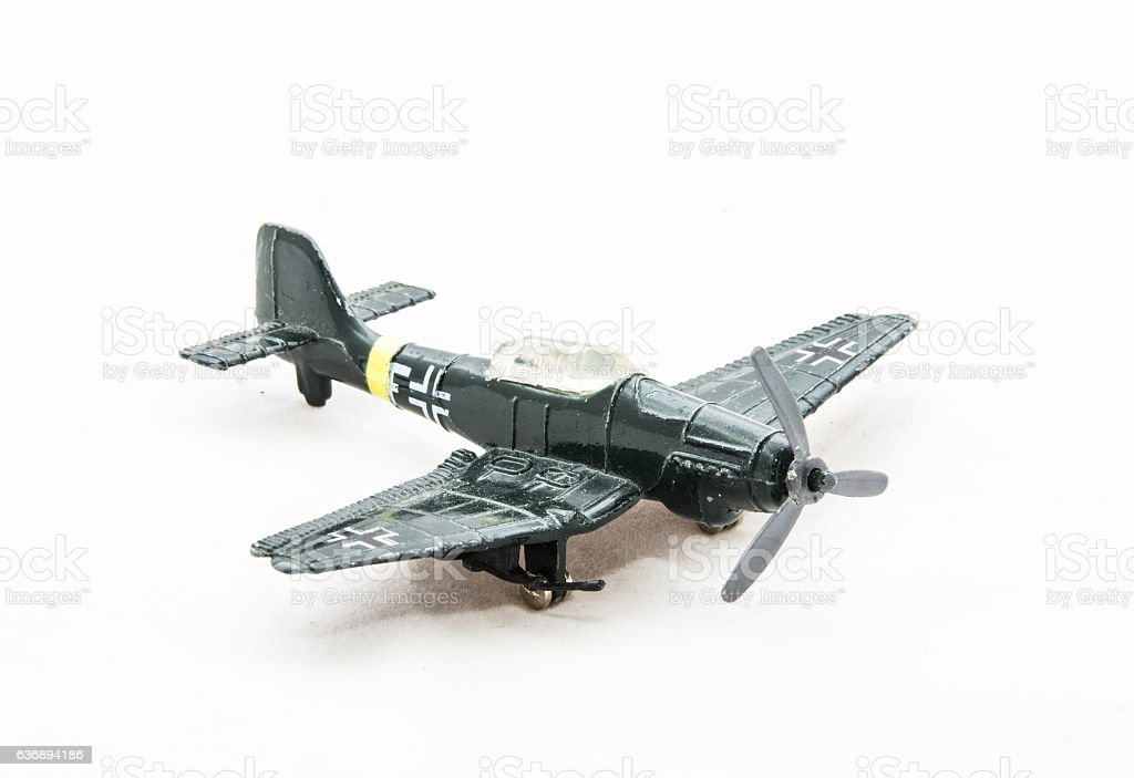 Dusty toy German WWII plane stock photo