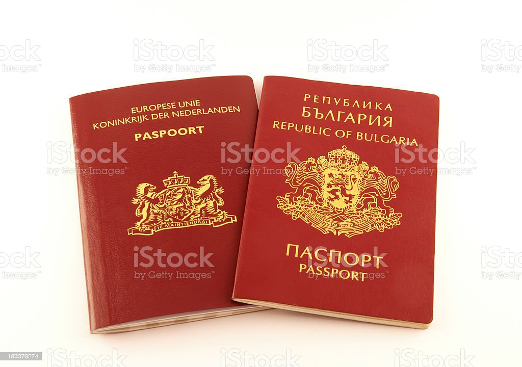 Dutch and Bulgarian passports stock photo