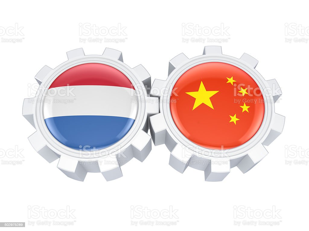 Dutch and chinese flags on a gears. royalty-free stock photo