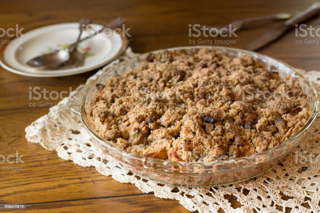 Dutch Apple Crumb Pie stock photo