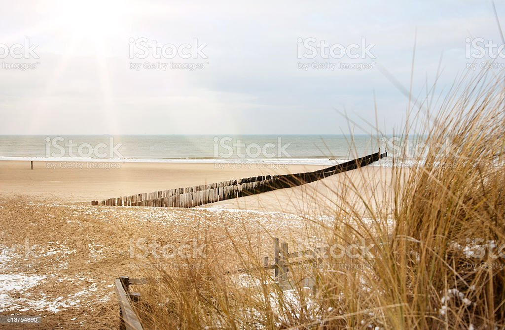 dutch beach in winter stock photo