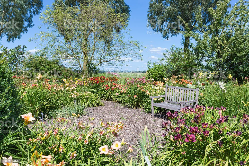 Dutch blooming garden with a retreat and wooden bench stock photo