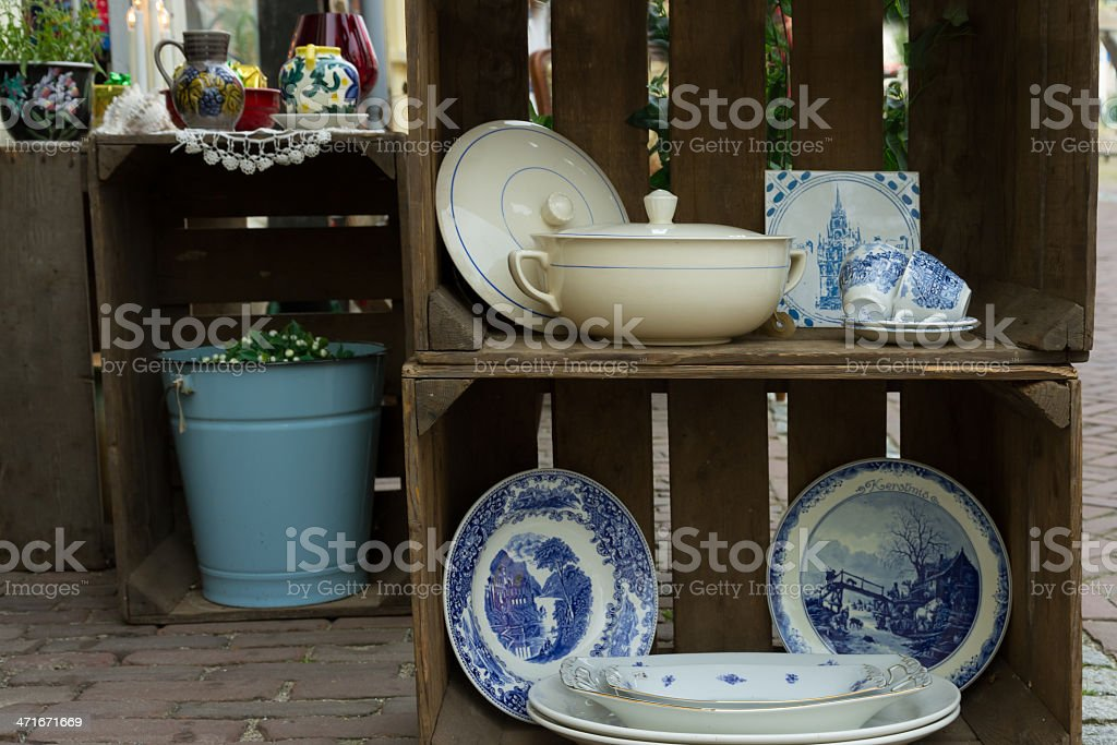 Dutch Blue and White at a Flea market royalty-free stock photo