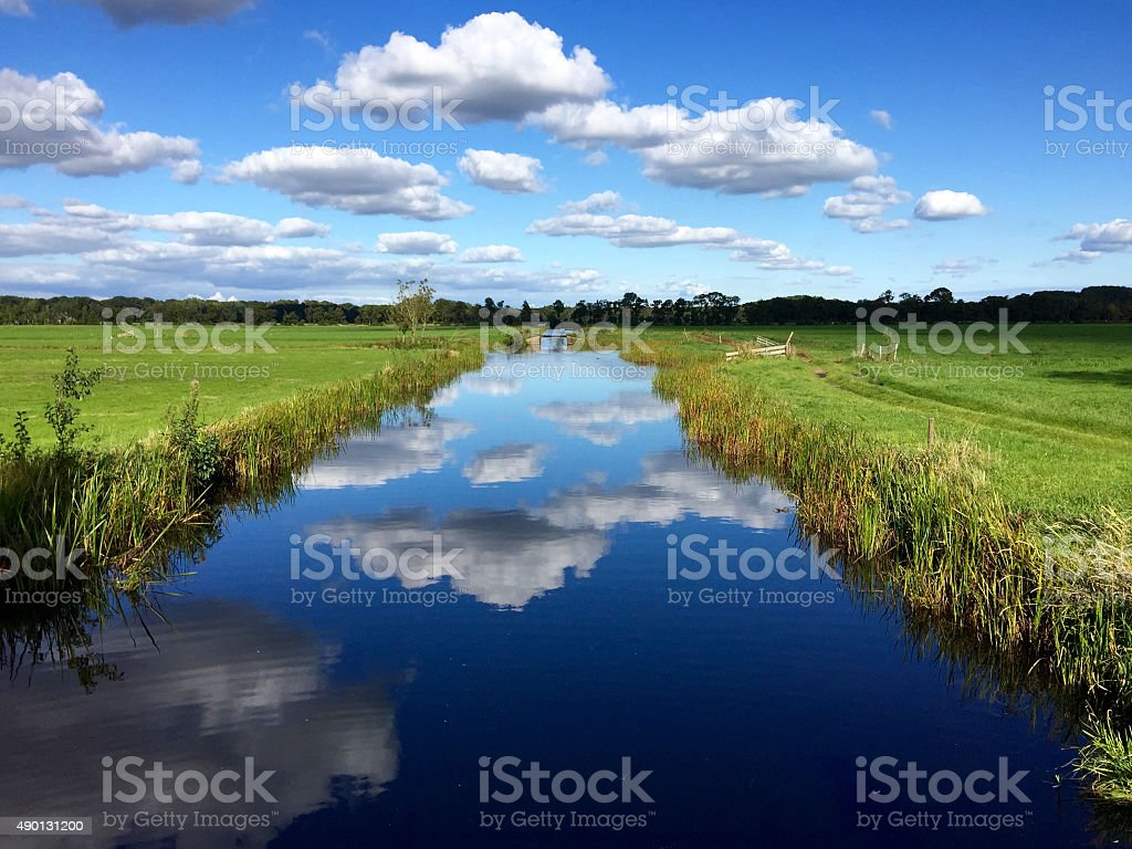 Dutch canal and grass Landscape stock photo