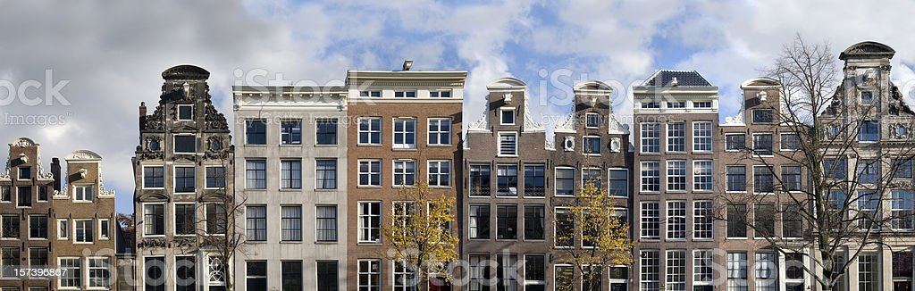 Dutch Canal Houses in a Row stock photo