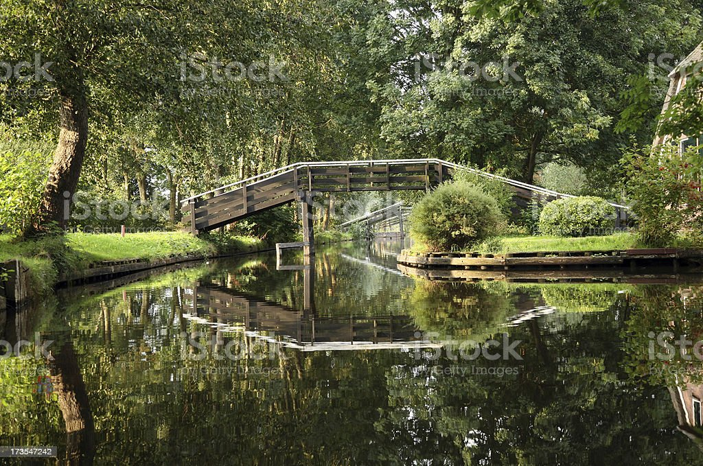 Dutch canals in Giethoorn royalty-free stock photo