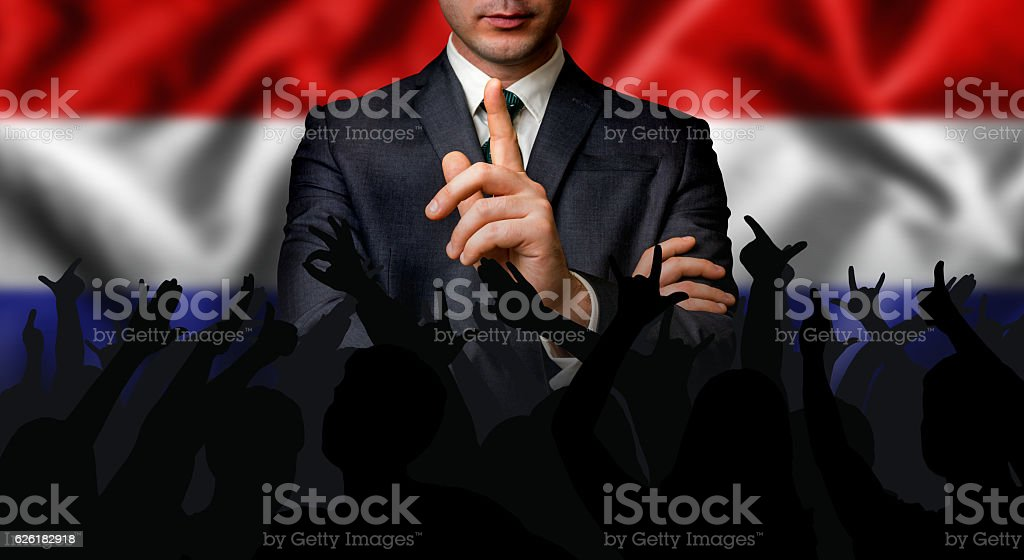 Dutch candidate speaks to the people crowd stock photo