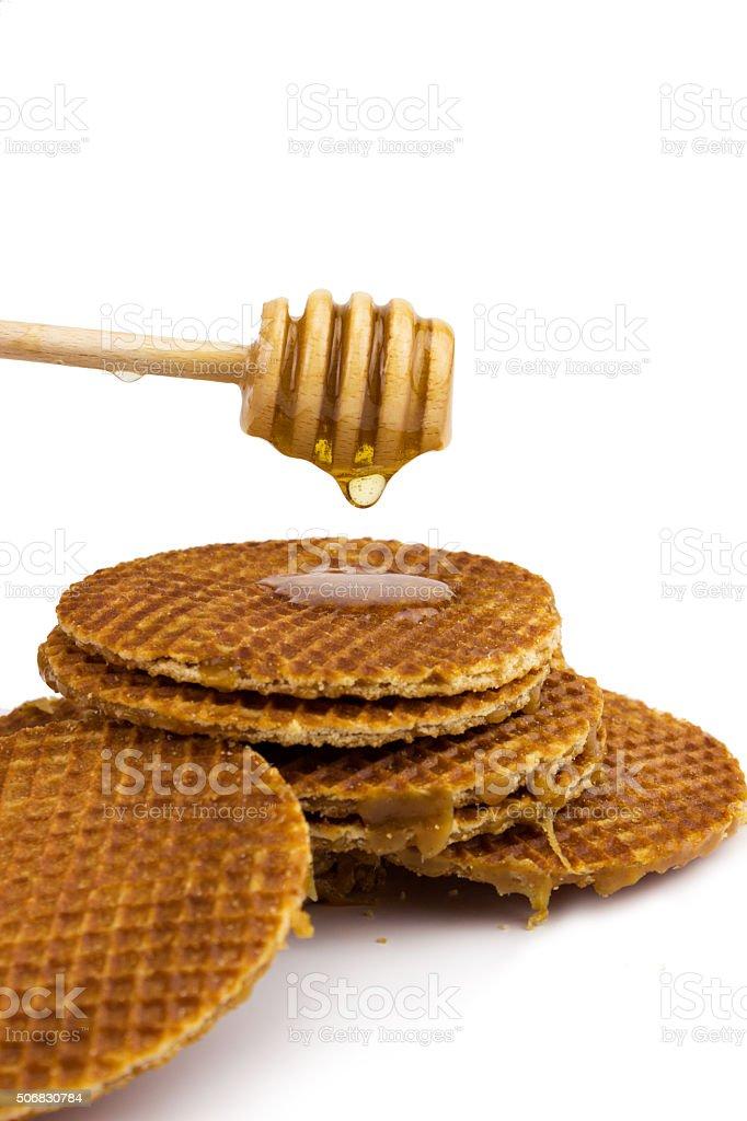 Dutch caramel waffle stock photo