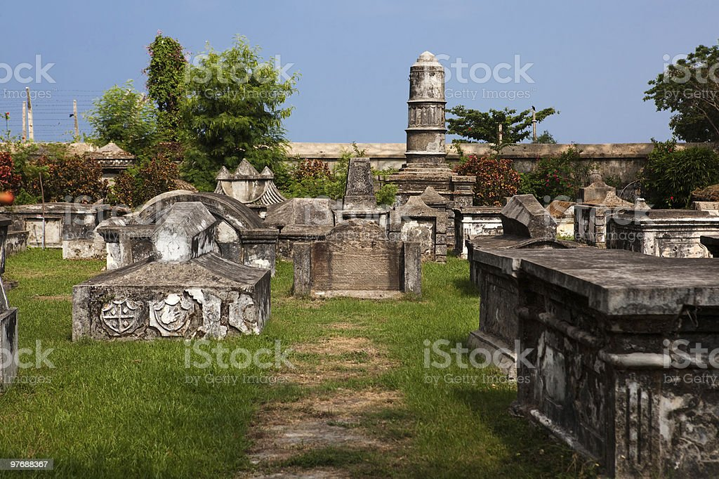 dutch cemetery of cochin stock photo
