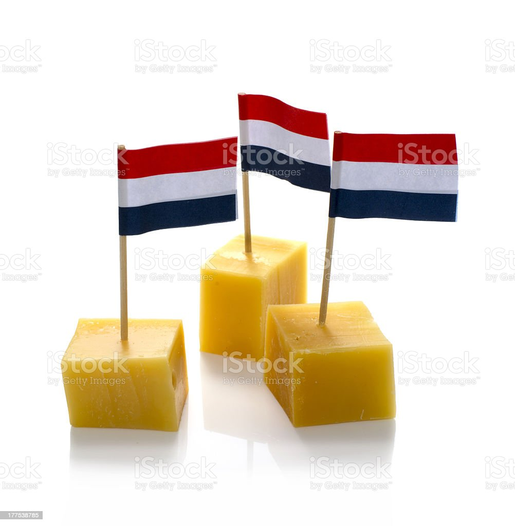 dutch cheese cubes isolated on white royalty-free stock photo