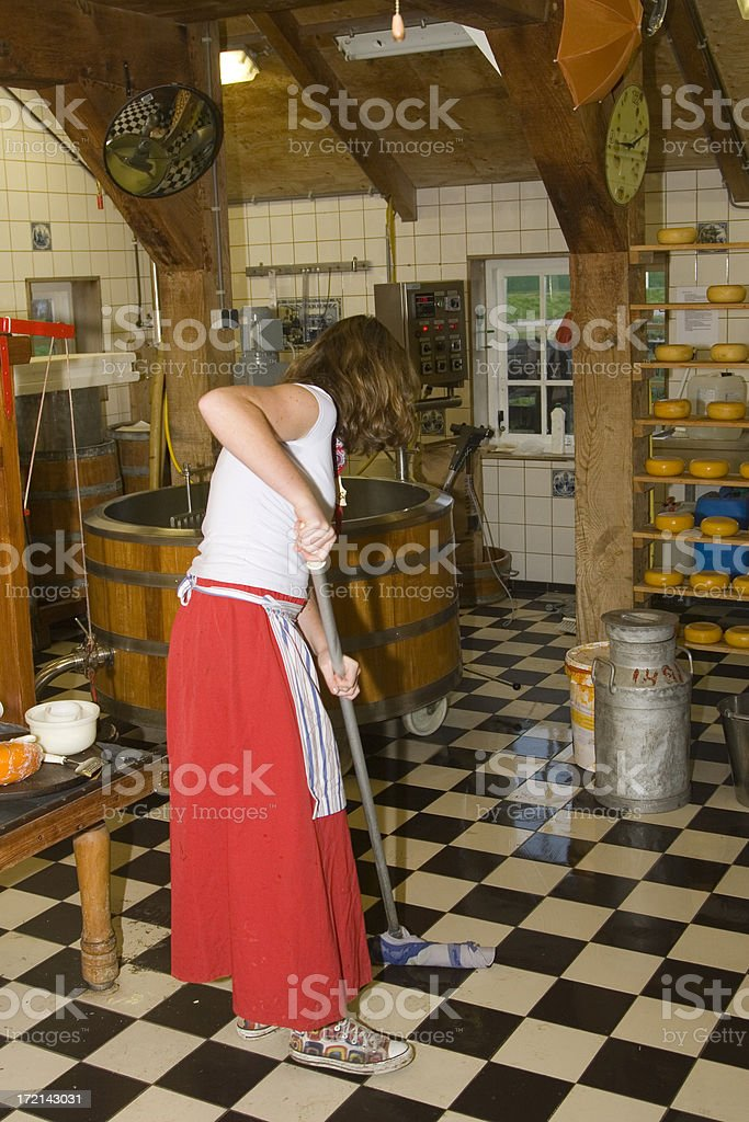 Dutch cheese in the making royalty-free stock photo