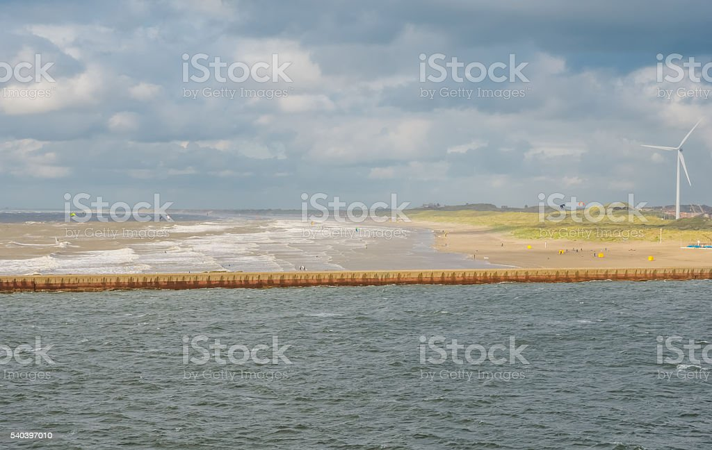 Dutch coast near IJmuiden stock photo