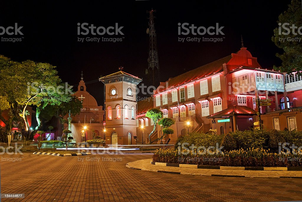 dutch colonial architecture at night in melaka malacca malaysia