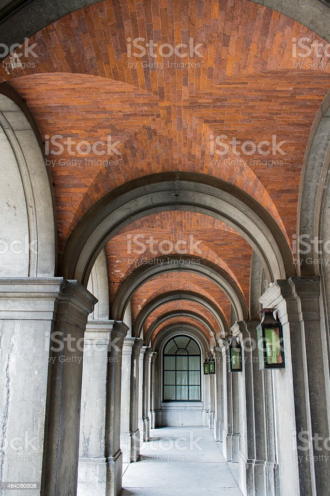 Dutch Colonnade at gouvernmentbuilding in the Netherlands stock photo