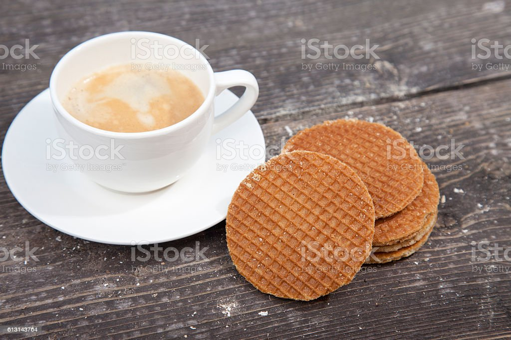 Dutch cookie stroopwafels with cup of coffee stock photo