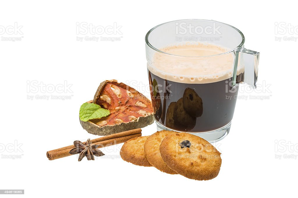 Dutch cookies with coffee stock photo