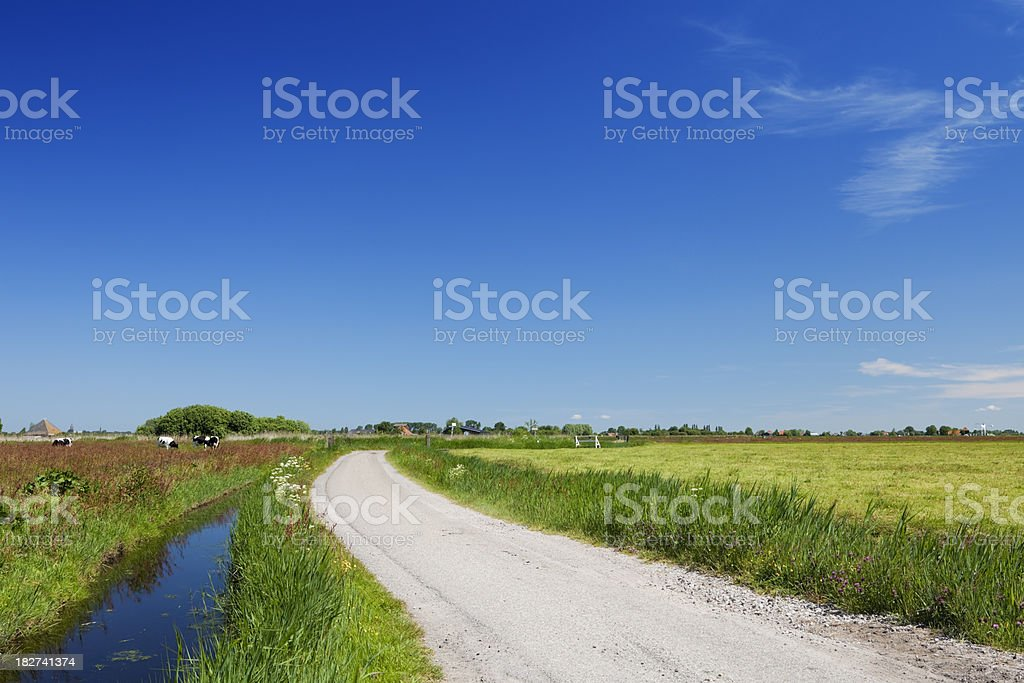 Dutch country landscape on a clear sunny day royalty-free stock photo