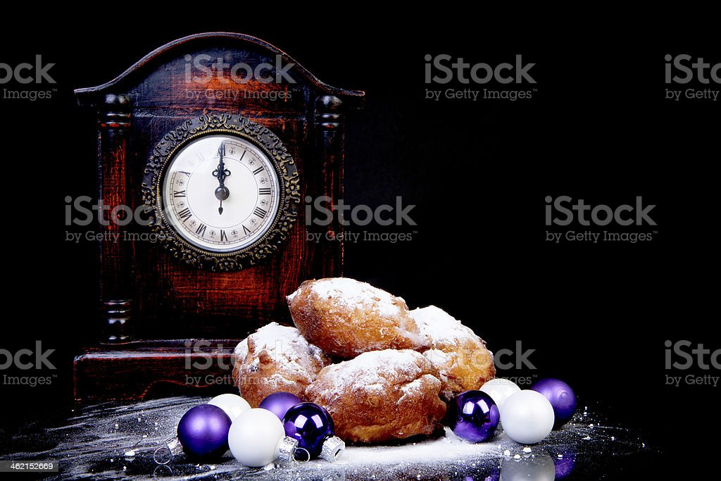 Dutch donut also known as oliebollen, traditional New Year's eve stock photo