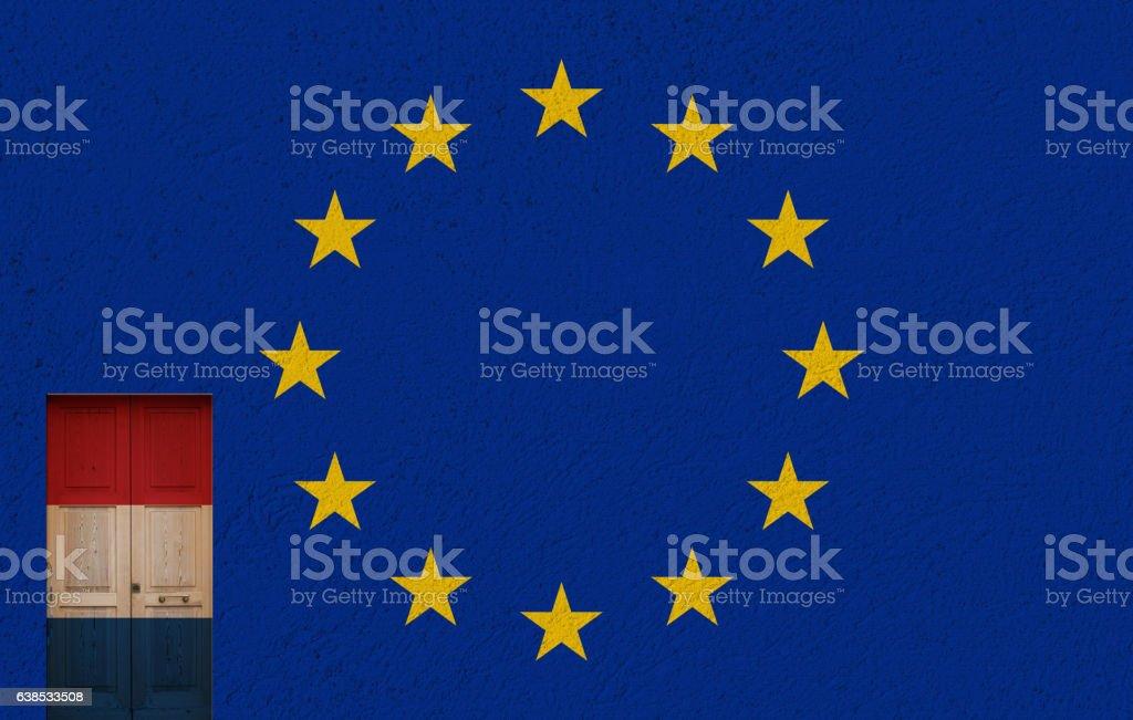 dutch door, european union and 2017 political elections stock photo