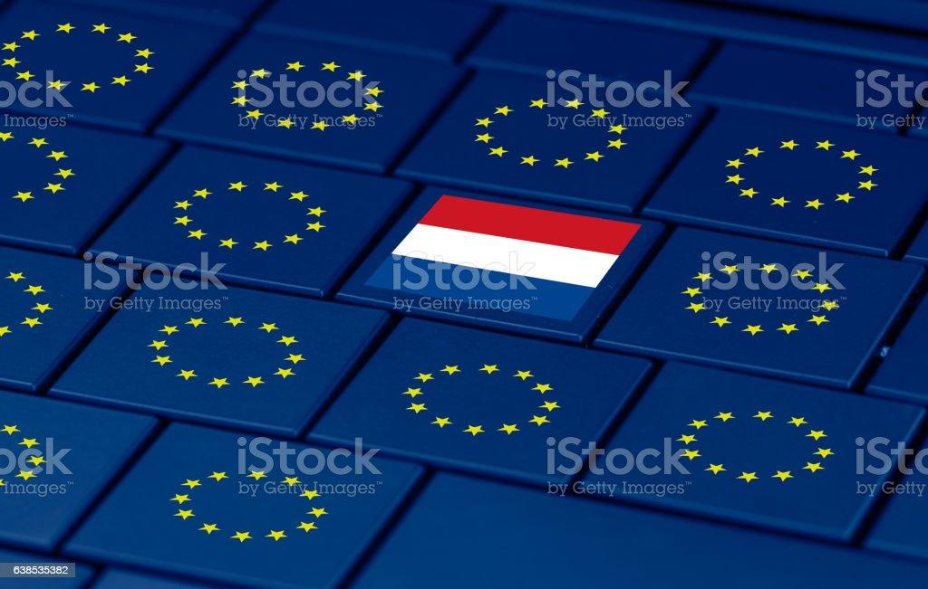 dutch elections, eu and a pc keyboard stock photo