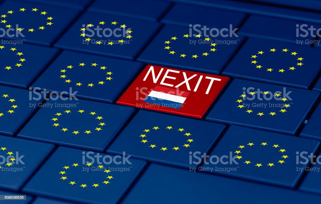dutch elections, eu and a pc keyboard stock photo