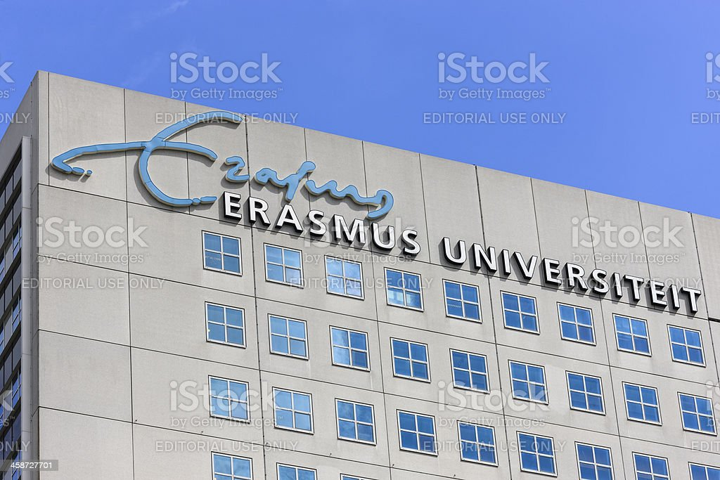 Dutch Erasmus University building at the Woudenstein campus in Rotterdam royalty-free stock photo