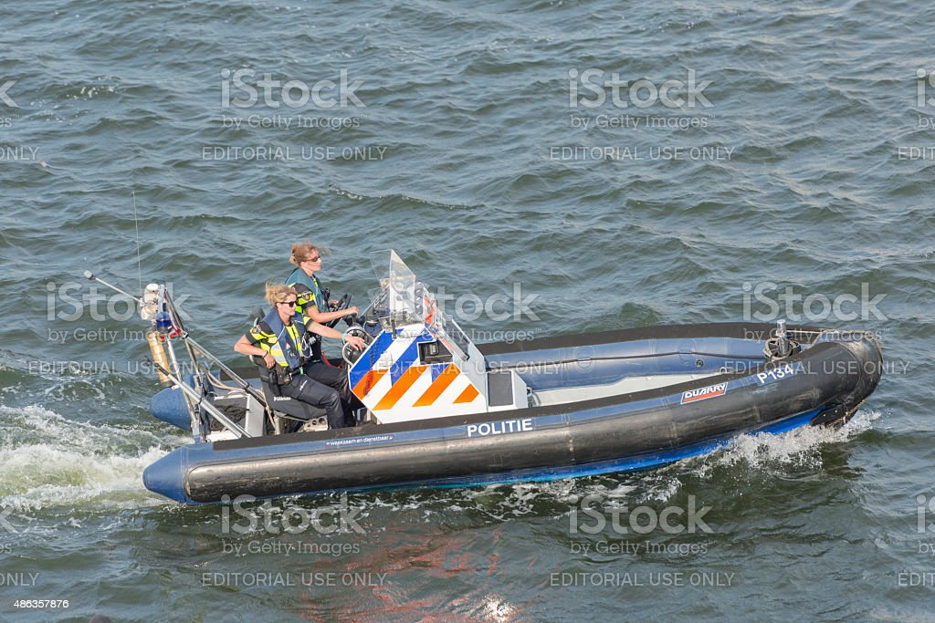 Dutch female harbor police officers stock photo
