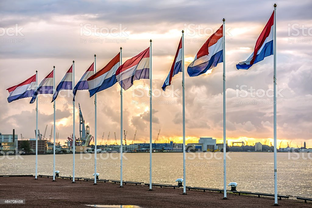 Dutch flags with Rotterdam's industry harbor in the background stock photo