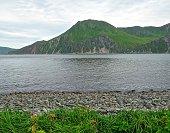 Dutch Harbor, Alaska seashore and mountains