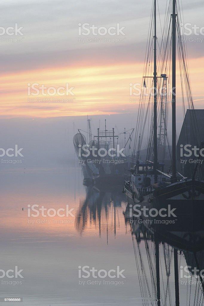 Dutch Harbor in morning fog royalty-free stock photo