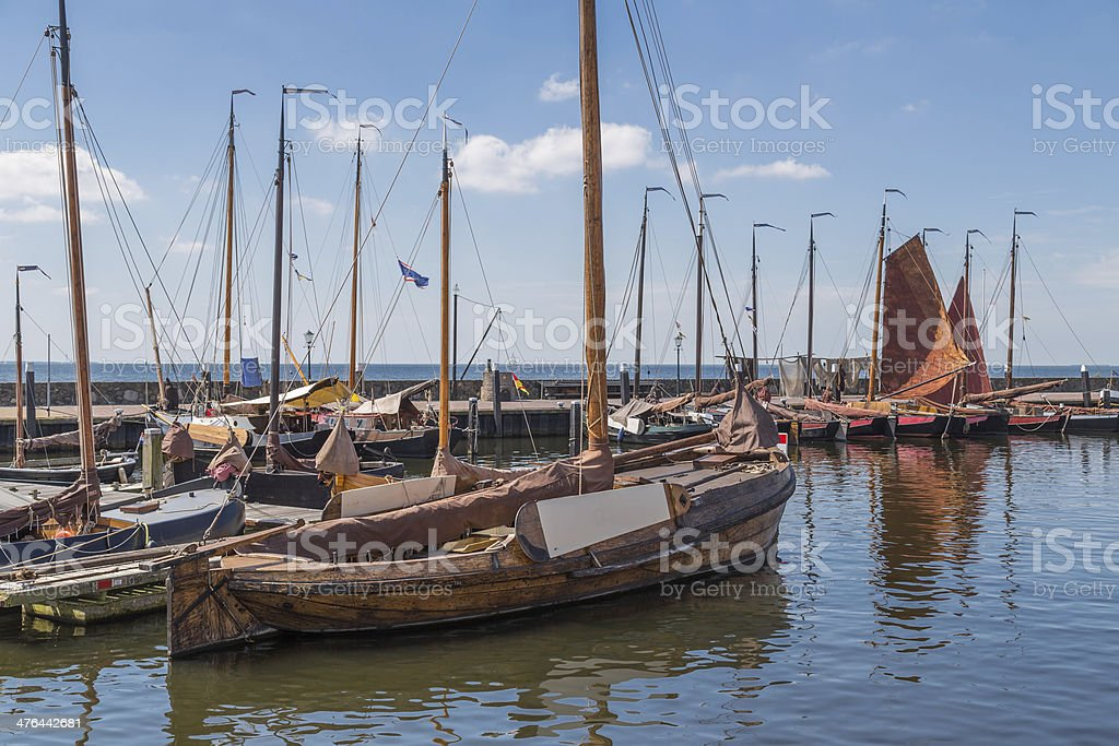 Dutch harbor of Urk with traditional wooden fishing boats royalty-free stock photo