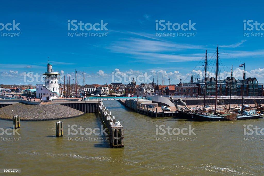 dutch harbor on the wadden sea stock photo