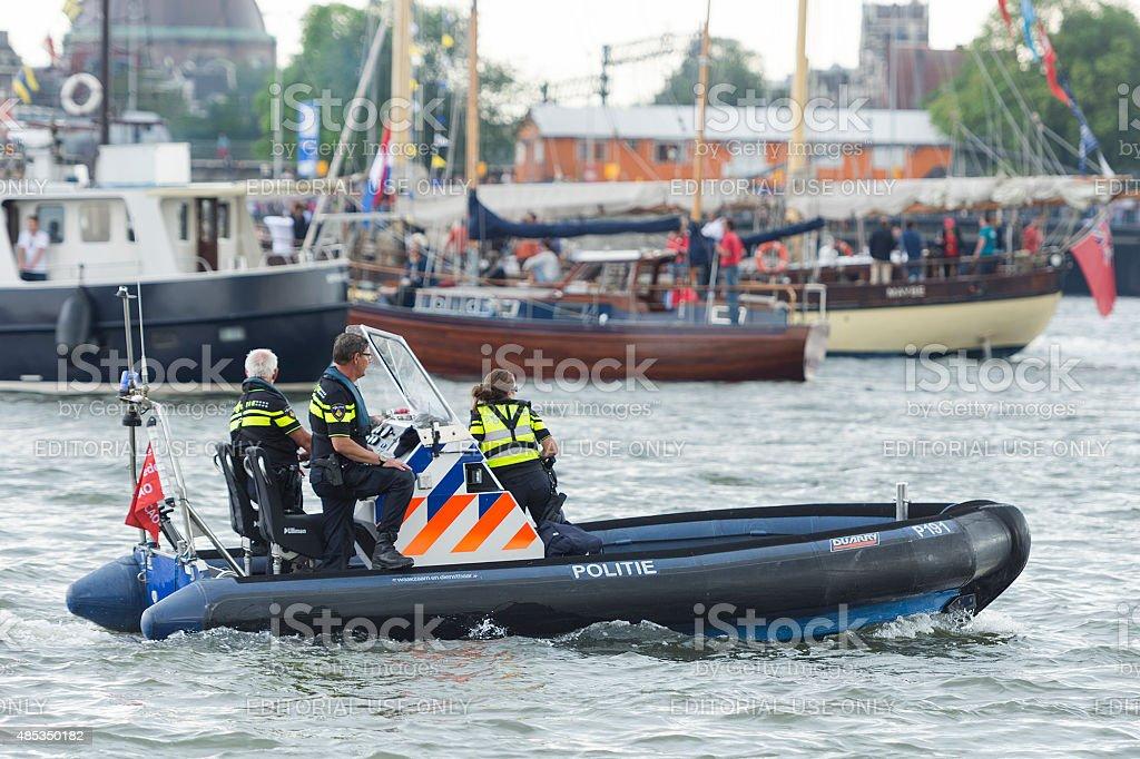 Dutch harbor police stock photo