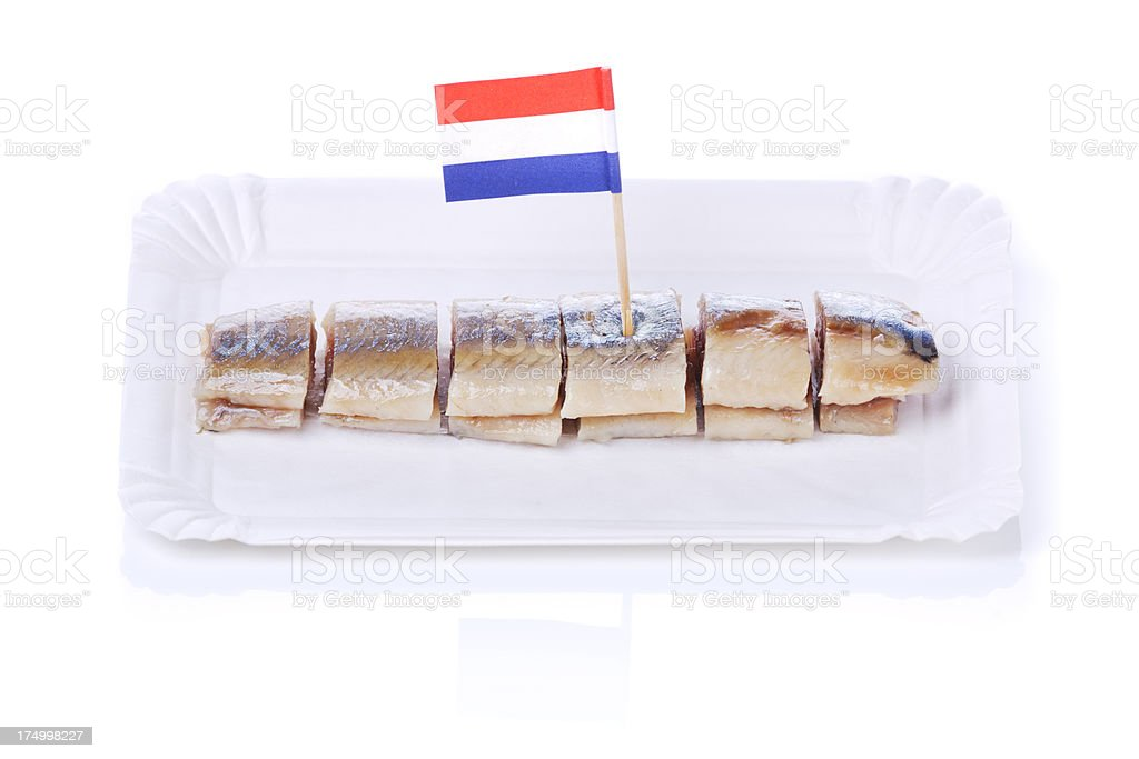 Dutch herring ('haring'), isolated on white stock photo