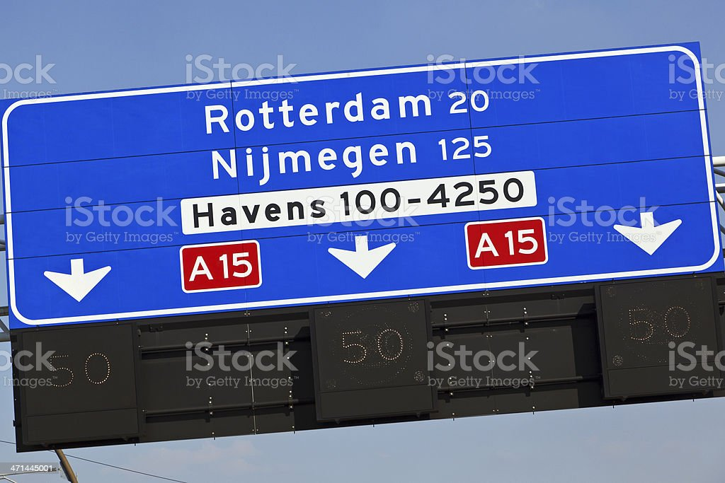 Dutch highway direction sign royalty-free stock photo