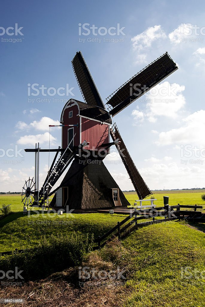 Dutch hollow post mill stock photo