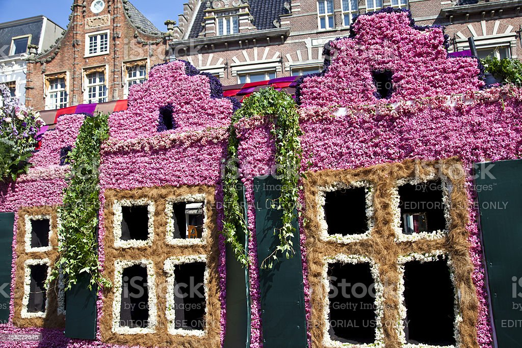 Dutch houses with flowers at flower parade stock photo